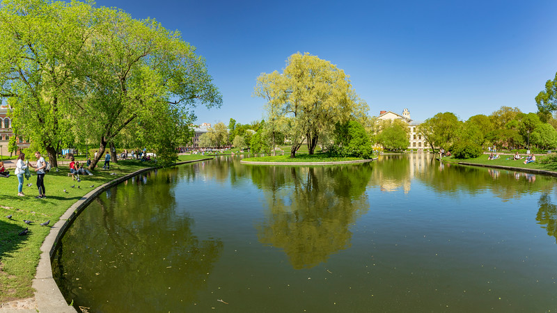 Russia-Saint Petersburg-Yusupov gardens panorama