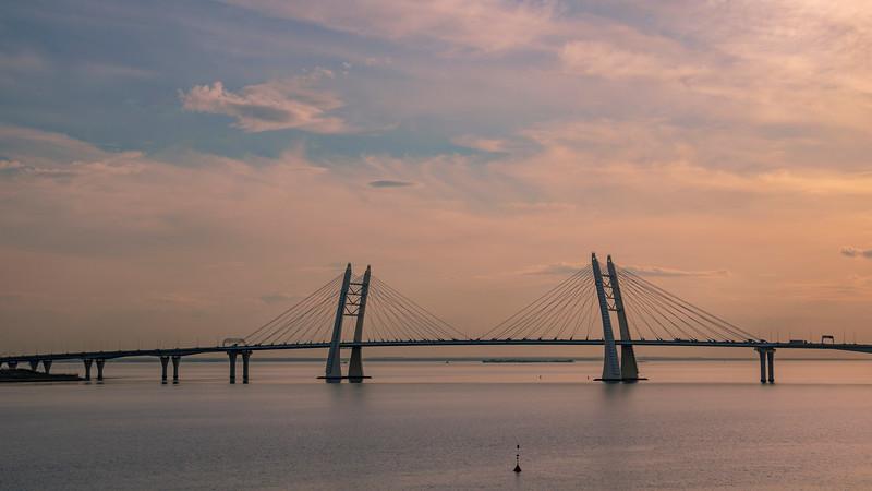 Russia-Saint Petersburg-Bolshoi Obukhovsky Bridge