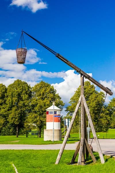 SWEDEN-STOCKHOLM-Sjöhistoriska museet-MARITIME MUSEUM-REPLICA OF ORIGINAL LIGHTHOUSE FIIRE BASKETS-VAXHOLM LIGHTHOUSE [RELOCATED]