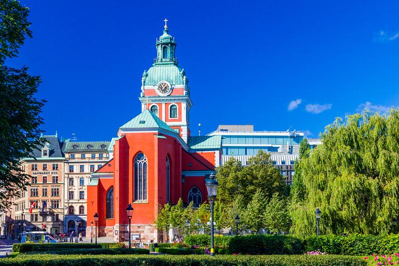 SWEDEN-STOCKHOLM-KUNGSTRAD-GARDEN-JAKOBS KYRKA [CHURCH]
