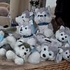 Stuffed huskies at the market