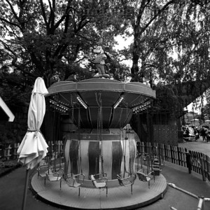 Ancient toddler carousel by the entrance to Skansen Park, August 27, 2010.