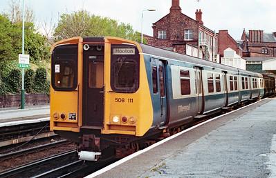 508 111 at Birkenhead Central on 7th April 1990