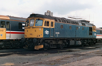 33 029 at Stewarts Lane Depot on 2nd June 1990