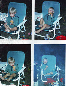 My nephew Miles. Camping with s'mores!!  PS I didn't take these pictures. I think my dad took them. He later printed them out all on one 8 1/2x11 sheet, which I had on my fridge for awhile.
