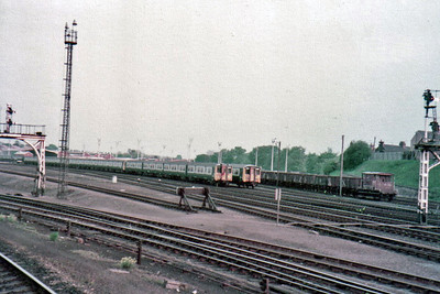 Another undated shot from the train, this time of the north end of York Yard on the avoiding line, shows New build ex works 455's fresh from York works and destined for the southern region.