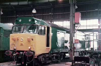 An UID Class 50 in the factory at Old Oak Common   27/08/84.