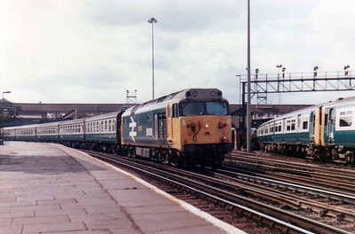 50001 'Dreadnought' passes Clapham Junction on an express to Waterloo  21/09/84.