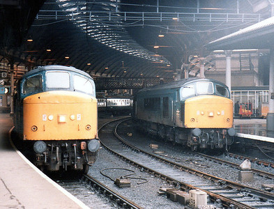(L-R) 45140 and 45125 on cross country trains at Newcastle.