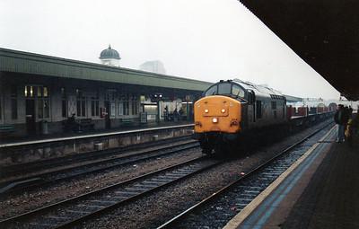 37904 through Cardiff Central on an empty steel train towards Margam.