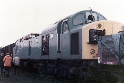 40130 sandwiched between 12t vans & iu 060380_10t 5 plank open, Swindon Works (ZL).