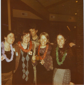 Peggy, Me (Scott), Jenny Fry, Suzanne. At the Skihawks banquet, years ago.