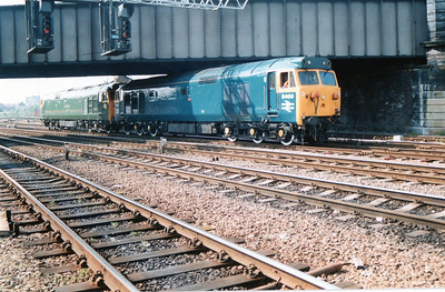 D400_50007 run round the stock at Chester.
