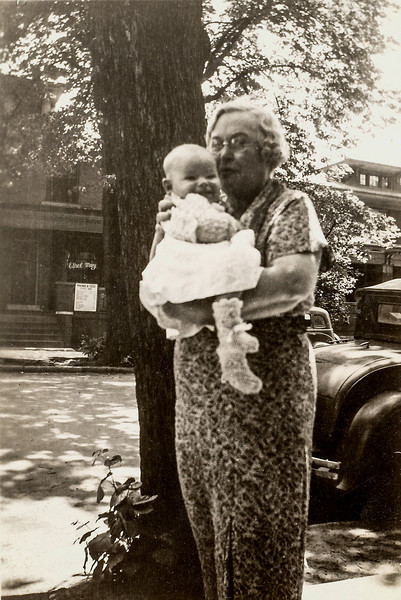 1935 summer - Clementine Goodrich (Ging Ging) holding David F Baral (4 months)