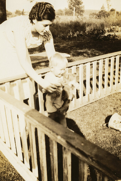 1936 David Baral (about 18 months old) with, possibly, Evelyn Loveday - stamped Portland Maine, September 10, 1936