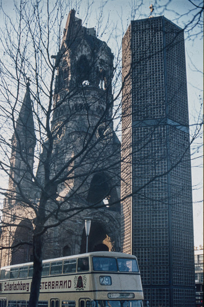 1971-11 Berlin scene - (Kaiser Wilhelm Memorial Church) - left in state as it existed in April 1945 at conclusion of war