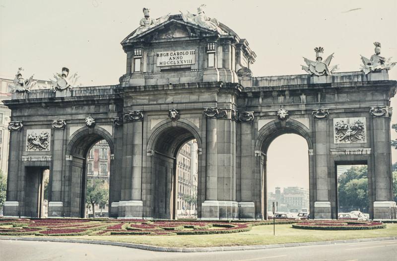 1972-09 Madrid's Puerta de Alcala - built 1778 - by Retiro Park