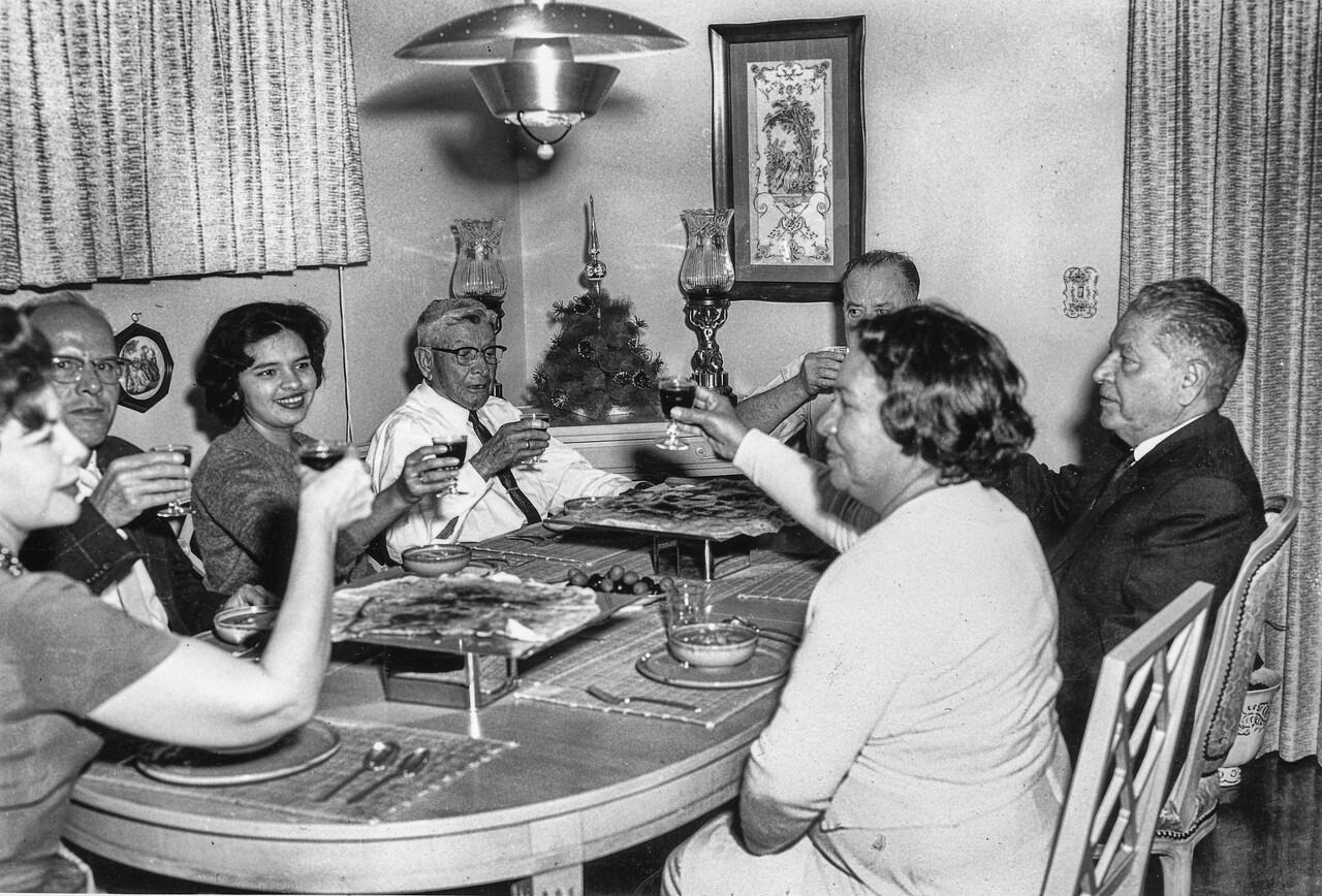 Sort ID: 1959-01 Image ID: C523 (est) Year: 1959. Josephine, Uncle Raul, Margaret, Mucio, Mother, Carlos Urquides, Dad in the Urquides home.