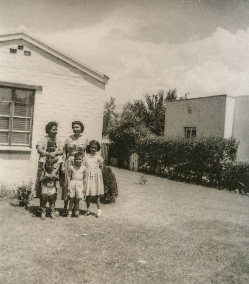 Sort ID: 1952-T10 Image ID: C013 (est) Year: 1952. Photo content: Mother, Caroline, Edward, Margaret, (in front, left: Fred), Mark Delgado. Location of photo: In front of 1225 E Edison St, Tucson.