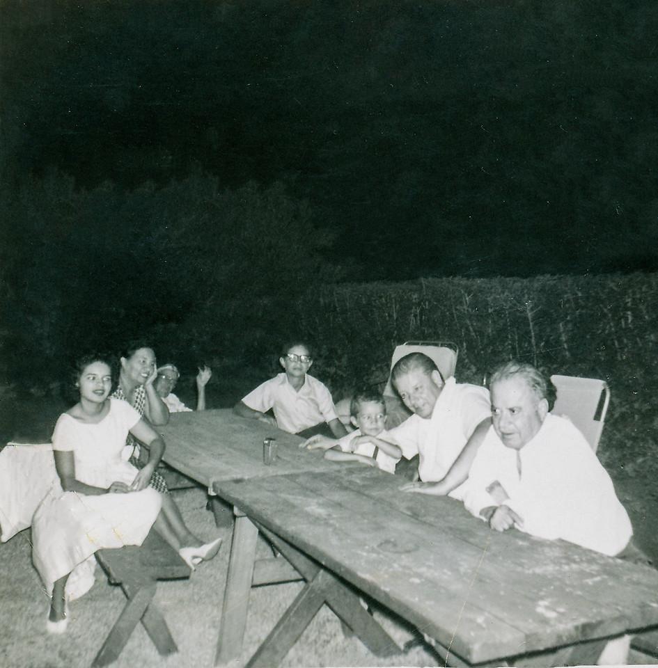 Sort ID: 1960-04 Image ID: C581  Year: 1960 . Margaret, Mother,  Mucio Sr, Fred, Michael, Mucio Jr, Carlos Urquides in front of 1231 E Edison St, Tucson.