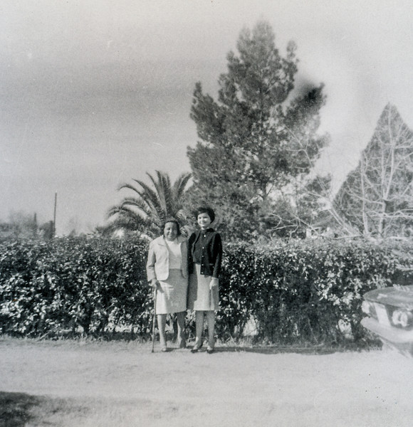 Sort ID: 1965-01 Image ID: C455 (est) Year: 1965. Photo content: Mother's last year when she lost height. Taken in the driveway of 1231 E Edison St, Tucson AZ. The family car, a Chevy Corvair, is at right.