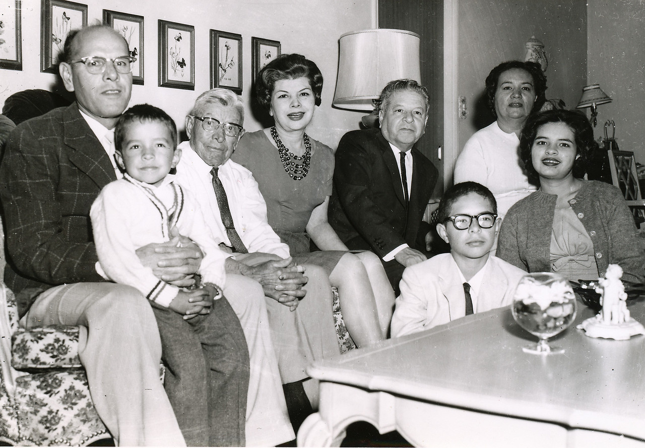 Sort ID: 1959-01 Image ID: C521 (est) Year: 1959. Uncle Raul, Michael, Mucio, Josephine, Dad, Fred, Mother, Margaret in the Urquides home.