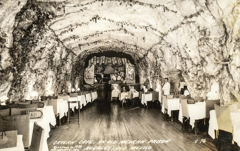 Sort ID: 1939-01 Image ID: C385 Year: 1939.  Photo content: Postcard of the Cavern in Nogales, Mexico, a cultural institution in that city.