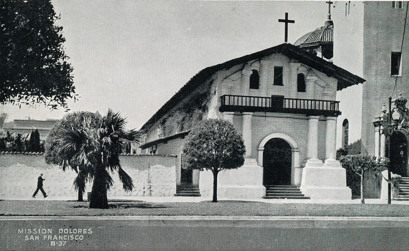 "Sort ID: 1939-01 Image ID: C378 Year: 1939.  Photo content: Postcard of Mission Dolores picked up by mother in San Francisco during her visit to the World Fair in that city in 1939. Photo dates from 1937. ""Mission San Francisco de Asís, or Mission Dolores, is the oldest surviving structure in San Francisco and the sixth religious settlement established as part of the California chain of missions. The Mission was founded on June 29, 1776, by Lieutenant José Joaquin Moraga and Father Francisco Palóu (a companion of Father Junipero Serra), both members of the de Anza Expedition, which had been charged with bringing Spanish settlers to Alta (upper) California, and evangelizing the local Natives, the Ohlone."""