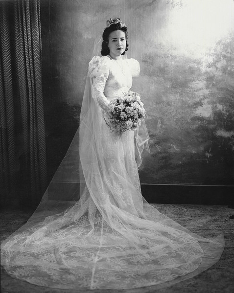 Sort ID: 1941-01 Image ID: C596  Sara Ortega in her wedding dress. Mother was 27 years-old.