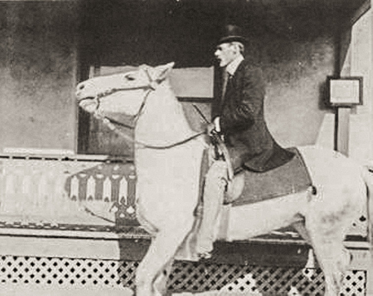 Sort ID: 1897-01 Image ID: D085. Photo content:  Dr Henry Towne Safford who delivered Dad on May 7, 1905. Riding his horse, Lady, as he made house calls. El Paso TX about 1897 or 1898.
