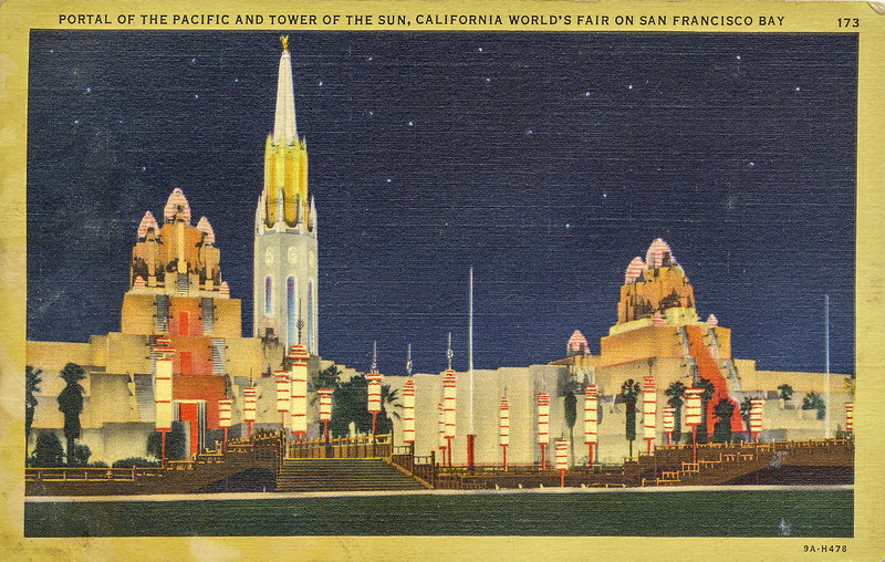 Sort ID: 1939-01 Image ID: C363 Year: 1939.  Photo content: Postcard likely picked up by mother during her visit to the San Francisco World Fair. At far left and far right, the two towers were known as Elephant Towers. This was the entrance to the Fair.  The looming tower is the 400 foot Tower of the Sun.