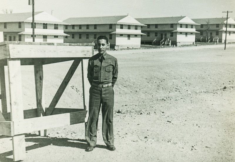Sort ID: 1942-01 Image ID: M020. (Date estimated.) Victor Ortega in uniform. Because his uniform has no military marking, suggests Victor was early in his days in the US Army, perhaps Officer Candidate School.
