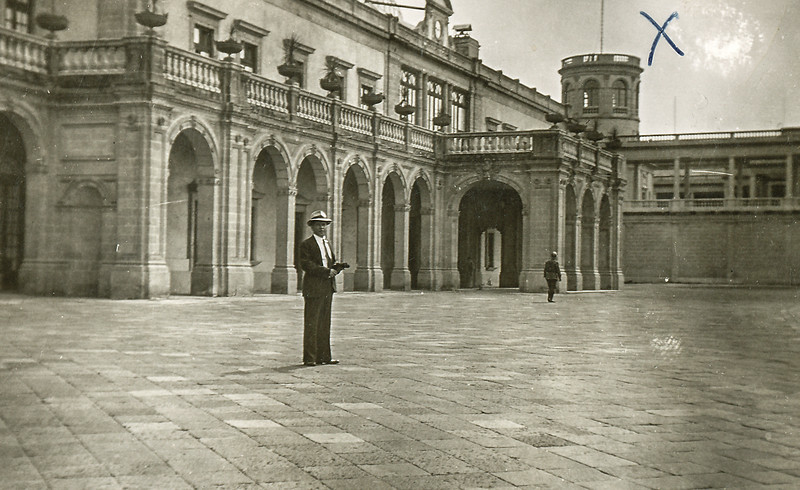 "Sort ID: 1941-M03 Image ID: C327 Year: 1941.   Photo content: Dad at Chapultepec Castle taken by mother during honeymoon in Mexico City. Man in scene is Dad.  ""On February 3, 1939, President Lázaro Cárdenas decreed a law that established Chapultepec Castle as the seat of the National Museum of History (Museo Nacional de Historia) with the collections of the former National Museum of Archaeology, History and Ethnography, (now the National Museum of Cultures). The museum was opened on September 27, 1944. President Cárdenas moved the official Mexican presidential residence to Los Pinos, and never lived in Chapultepec Castle.""  See <a href=""http://en.wikipedia.org/wiki/Chapultepec_Castle"">http://en.wikipedia.org/wiki/Chapultepec_Castle</a>  ""The United States Marine Corps honors the Battle of Chapultepec and the subsequent occupation of Mexico City through the first line of the ""Marines' Hymn,"" From the Halls of Montezuma. Marine Corps tradition maintains that the red stripe worn on the trousers of officers and noncommissioned officers, and commonly known as the blood stripe commemorates the supposedly high number of Marine NCOs and officers killed storming the castle of Chapultepec in 1847."""