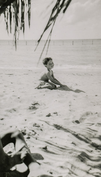 Sort ID: 1952-A01 Image ID: C586 (est) Year: 1952. Photo content: Fred. Location of photo: On the beach at Cardon, Venezuela.