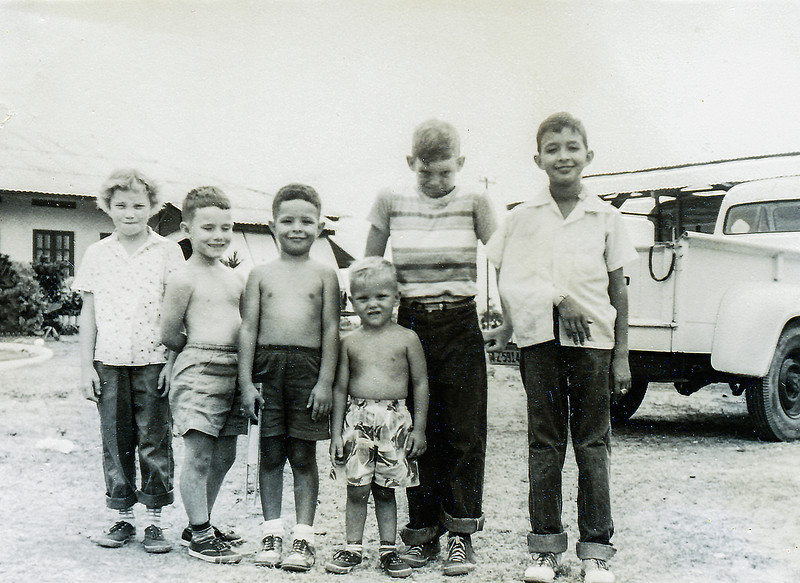 Sort ID: 1954-A01 Image ID: C589 (est) Year: 1954.  Edward with his broken arm with his pals in Las Morochas, Venezuela.  John Incledon is second from left, next to Fred.