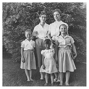 Astrid and Inez Gelaude, Uncle Theo's girls.  This was in Brunkild Manitoba where Mom grew up.