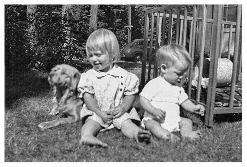 With Cindy, our Dog.  I don't remember this one, but have heard stories of how protective she was.