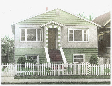 Grandma's house in Vancouver BC.  I wanted to keep it in color because I remember the green siding and the red steps.  Auntie Elsie lived here too.  I think this must have been taken by Uncle Maynard because Mom never used color film until much later.