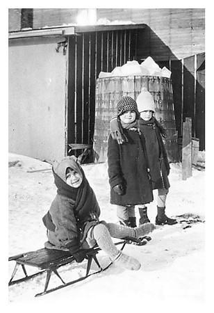 Martha, Elsie, Maria. The barrel was filled with ice.  There was a tap at the bottom for melt water.
