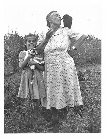 Ethel and Grandma with Jimmy the crow.