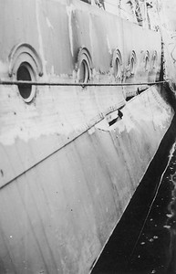 Damage to St Laurent - possibly from severe weather in November 1941 while escorting mid-Atlantic Convoy ON 33.
