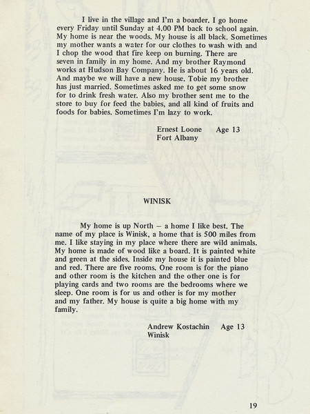 Homes around the Bay 1971: Story by Ernest Loone. Winisk by Andrew Koostachin.