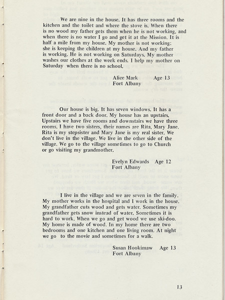 Homes around the Bay 1971: Stories by Alice Mark, Evelyn Edwards, Susan Hookimaw.