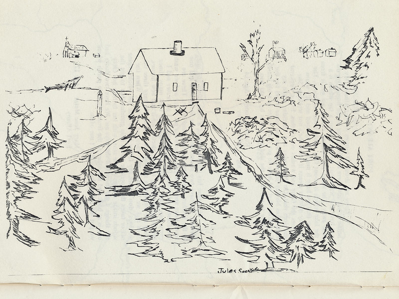 Homes around the Bay 1971: Drawing by Jules Spence.