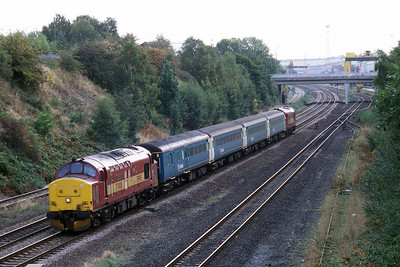 "Class 37 No 37408 ""Loch Rannoch""+37405 at Stourton, Leeds on 11 October 2003 with the 5Z37 10:22 Healey Mills - Carlisle ECS (driver Steve Titheridge)"