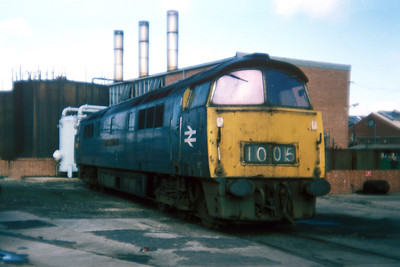"Class 52 No D1005 ""Western Venturer"" in Swindon Works on 27 February 1977"