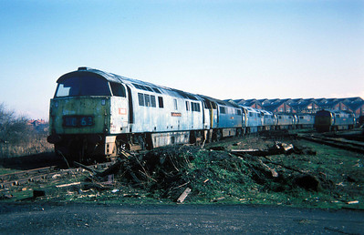 "Class 52 No D1063 ""Western Monitor"" in Swindon Works on 27 February 1977"