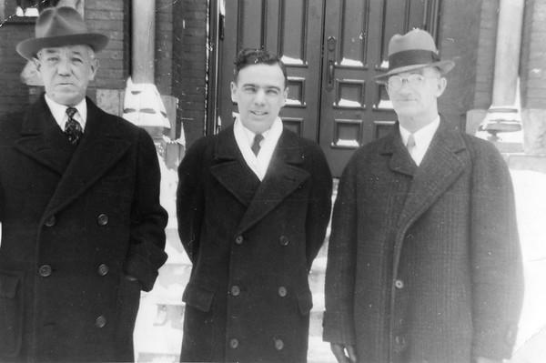 "3.5 x 5"" print. Printed Jan 28, 1941. ""William Campbell, Father Bill (in seminary), David McGrath"""
