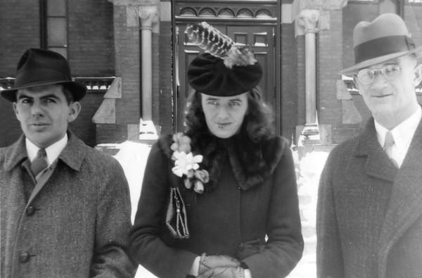 "3.5 x 5"" print. Printed Jan 28, 1941. Tom O'Malley, Marion, David McGrath. Wedding 1/25/41"""