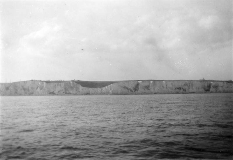 """""""White Clifs of Dover as seen from USS Gen Taylor. 1952"""""""